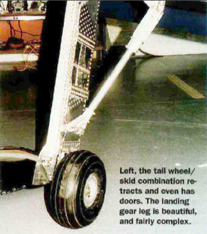 the tail wheel/ skid combination retracts and even has doors.