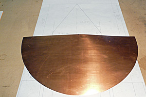 The copper was cut to size