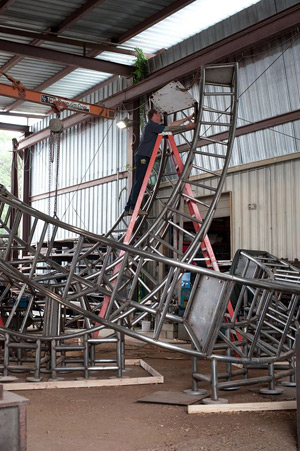 Assembling the Synergy stainless steel sculpture